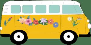 Image de voiture, van, camion, bus, avec des fleurs